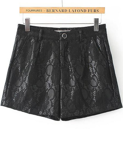 Black Lace Straight Shorts