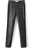 Black Elastic Contrast PU Leather Slim Pant