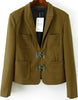 Green Lapel Long Sleeve Pockets Crop Blazer