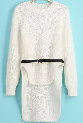 White Long Sleeve Dipped Hem Knit Sweater
