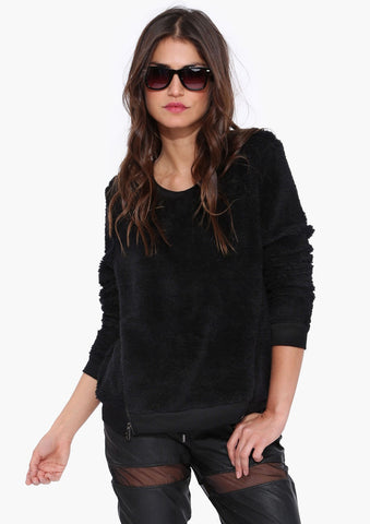 Black Long Sleeve Zipper Fuzzy Sweatshirt