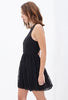 Black Sleeveless Backless Lace Pleated Dress