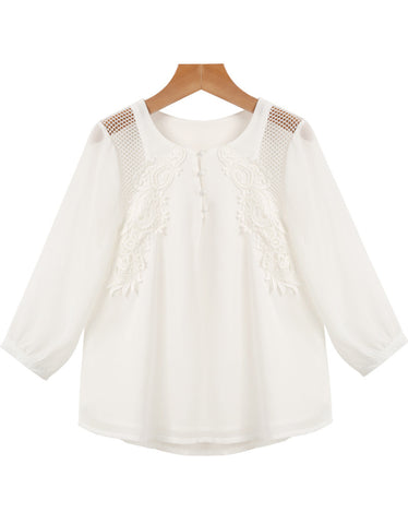 White Long Sleeve Hollow Embroidered Chiffon Blouse
