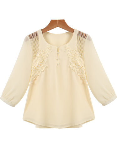Apricot Long Sleeve Hollow Embroidered Chiffon Blouse