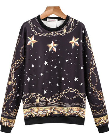 Black Long Sleeve Stars Chain Print Sweatshirt