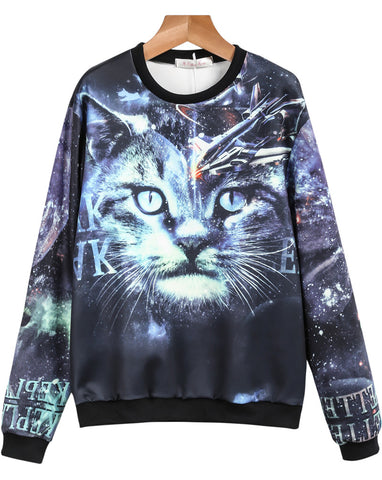 Blue Long Sleeve Cat Galaxy Print Sweatshirt