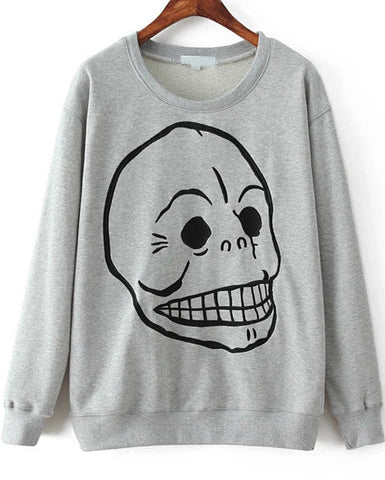 Grey Long Sleeve Skull Print Loose Sweatshirt