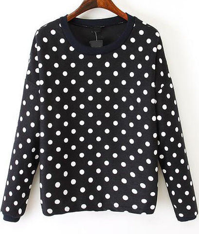 Black Long Sleeve Polka Dot Sweatshirt
