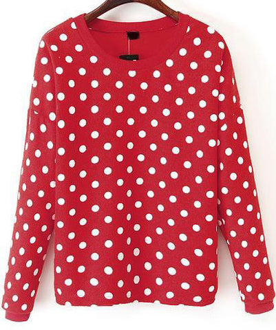Red Long Sleeve Polka Dot Sweatshirt