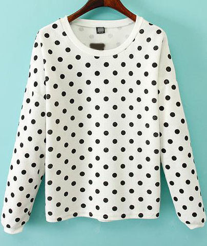 White Long Sleeve Polka Dot Sweatshirt