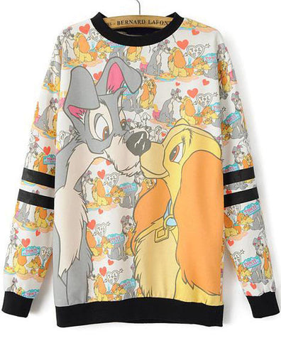 Yellow Long Sleeve Dogs Print Loose Sweatshirt