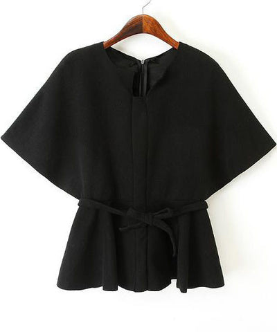Black Batwing Sleeve Belt Crop Top