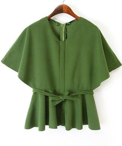 Green Batwing Sleeve Belt Crop Top