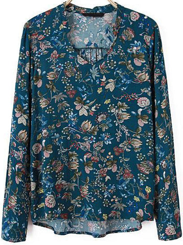 Blue V Neck Long Sleeve Floral Loose Blouse