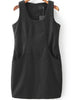 Black Sleeveless Pockets Tank Dress