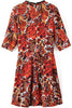 Red Half Sleeve Bead Floral Slim Dress