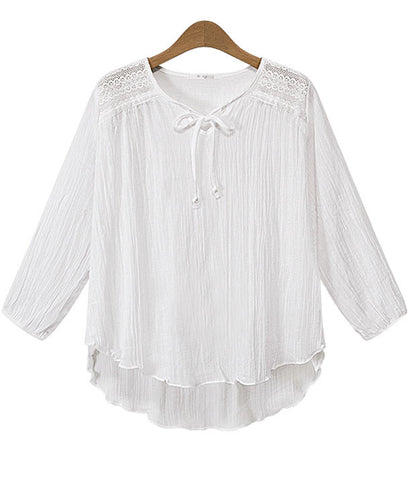 White Long Sleeve Dipped Hem Chiffon Blouse