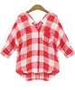 Red V Neck Plaid Pockets Blouse