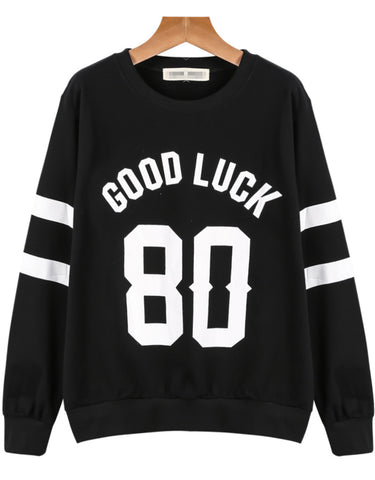 Black Long Sleeve GOOD LUCK 80 Print Sweatshirt
