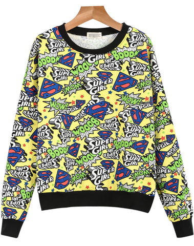 Yellow Long Sleeve Super Girl Print Sweatshirt