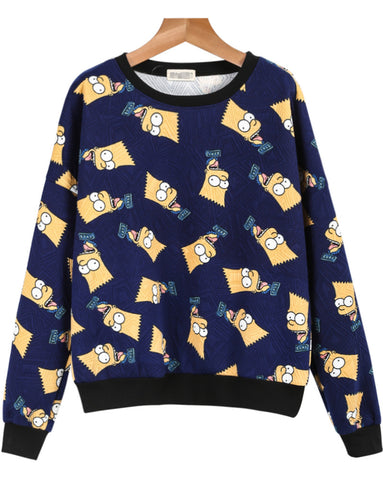 Blue Long Sleeve Simpson Print Loose Sweatshirt