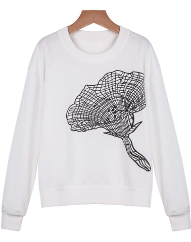 White Long Sleeve Morning Glory Sweatshirt
