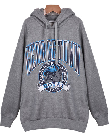 Grey Hooded Long Sleeve Letters Dog Print Sweatshirt