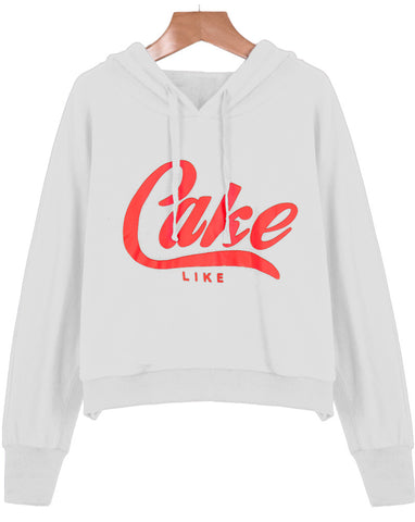 White Hooded Long Sleeve Cake Print Sweatshirt