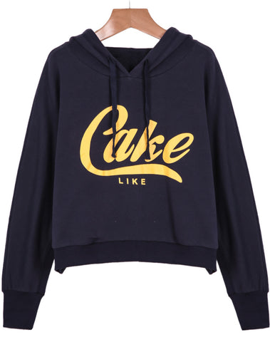 Navy Hooded Long Sleeve Cake Print Sweatshirt