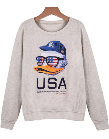 Grey Long Sleeve Duck Print USA Print Sweatshirt