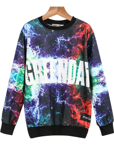 Multicolor Long Sleeve Galaxy Greenday Print Sweatshirt