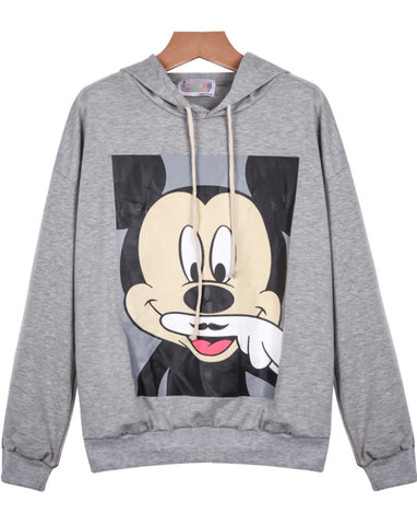 Grey Hooded Long Sleeve Mickey Print Sweatshirt