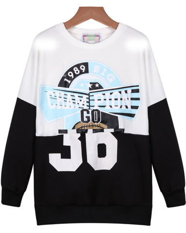 Black White Long Sleeve CHAMPION Print Sweatshirt