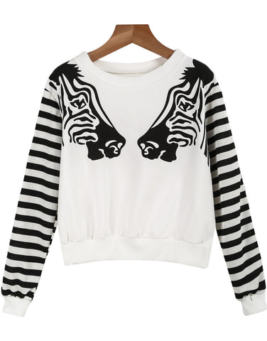 White Long Sleeve Zebra Print Sweatshirt
