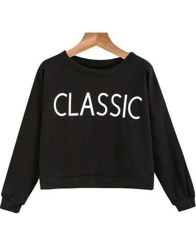 Black Long Sleeve CLASSIC Print Sweatshirt