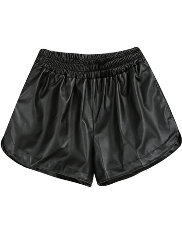 Black Elastic Waist Shorts