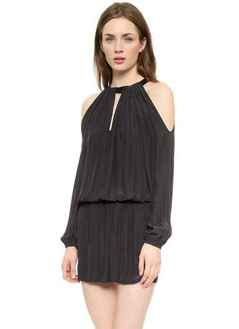Black Off the Shoulder Pleated Bodycon Dress