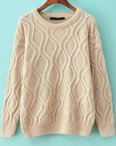 Beige Long Sleeve Diamond Patterned Knit Sweater