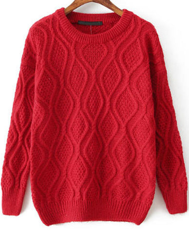 Red Long Sleeve Diamond Patterned Knit Sweater