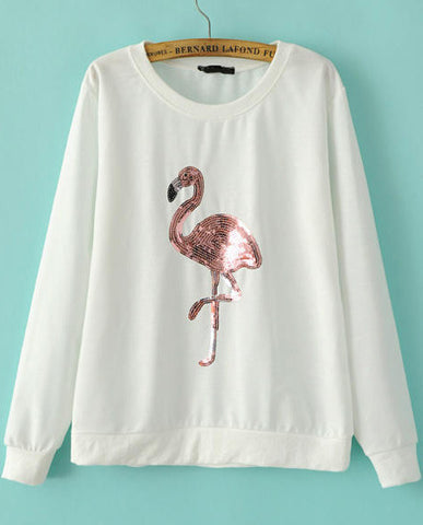 White Long Sleeve Sequined Crane Sweatshirt
