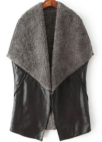 Black Lapel Sleeveless Vintage Leather Vest