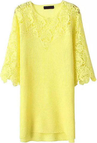 Yellow Half Sleeve Floral Crochet Lace Dress