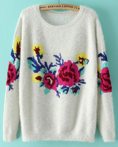 White Long Sleeve Rose Print Mohair Sweater