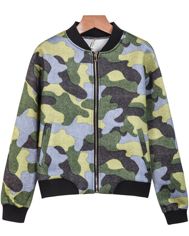 Green Long Sleeve Camouflage Pockets Jacket