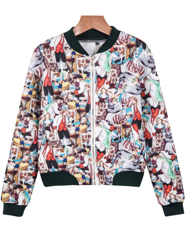 Red Long Sleeve Portrait Print Jacket