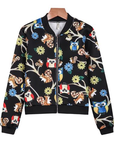 Black Long Sleeve Owl Print Crop Jacket