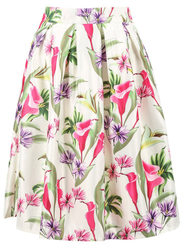 White Narcissus Print Pleated Skirt