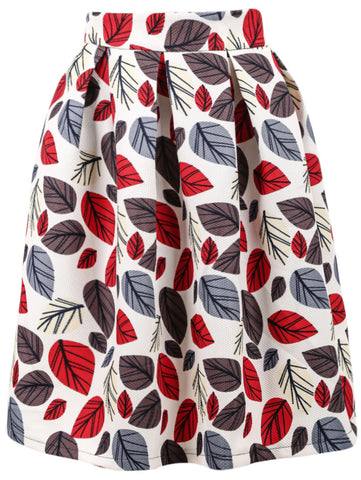 White Leaves Print Skirt