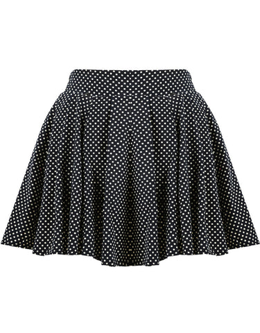 Black Polka Dot Pleated Skirt