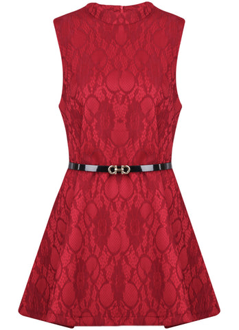 Red Round Neck Sleeveless Lace Dress